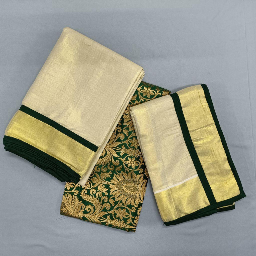 Golden Tissue Dhavani Material With Banarasi Blouse Piece