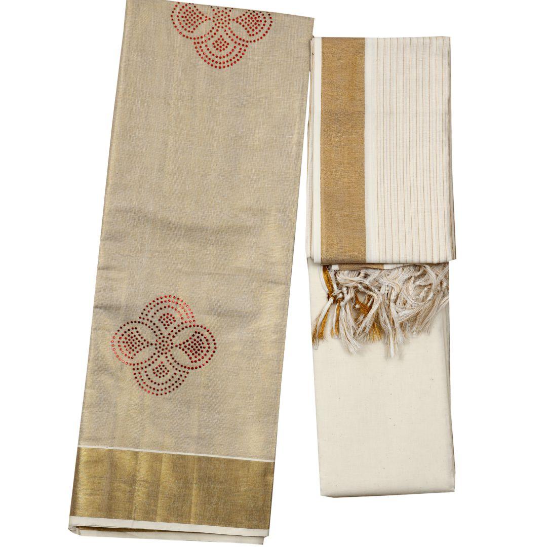 Kerala Golden Kasavu Salwar Material