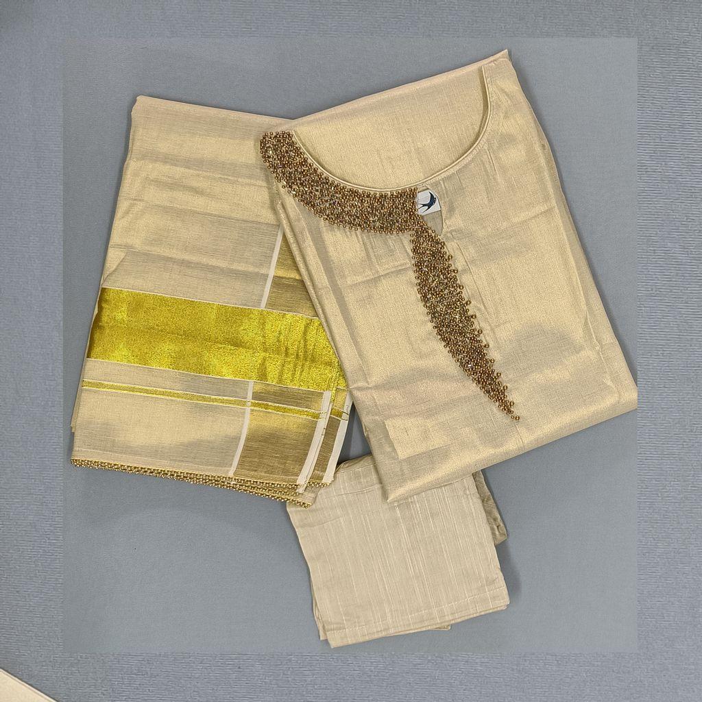 Golden Tissue Salwar Stitched With Bead Work