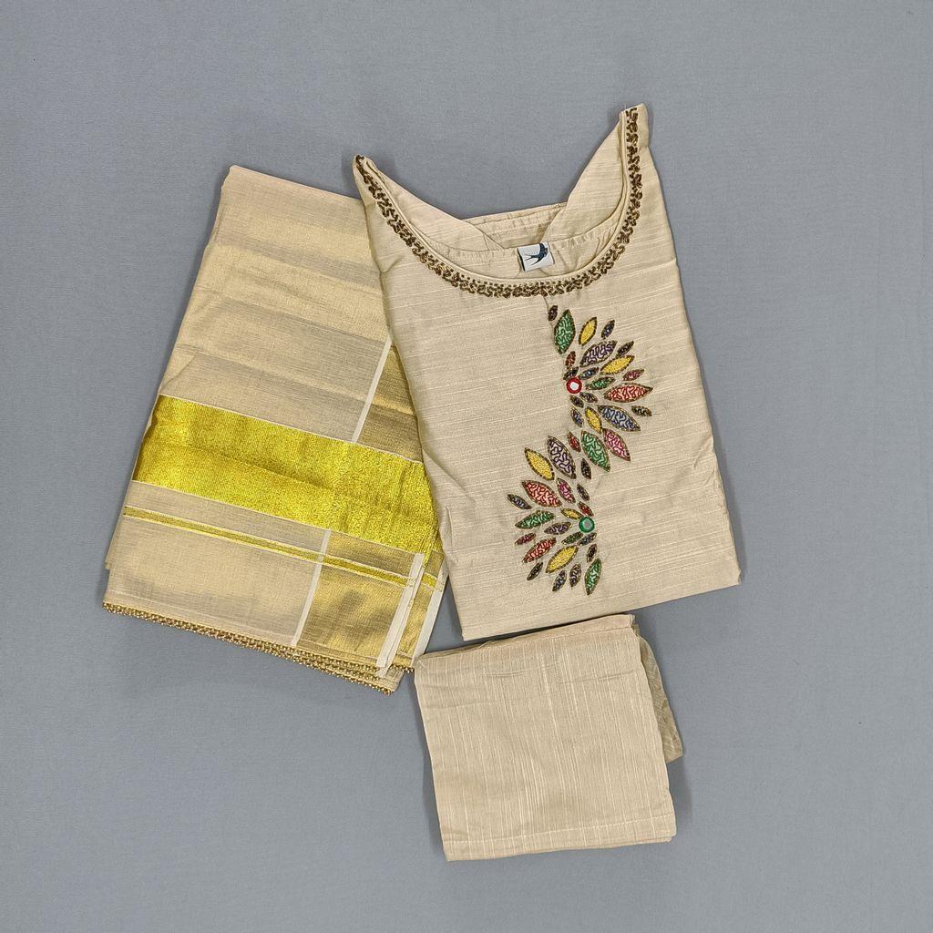 Traditional Slub Silk Salwar Stitched Set
