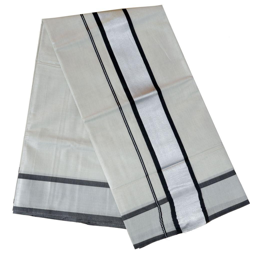 Kerala Tissue Saree With Black Woven Border And Silver Kasavu