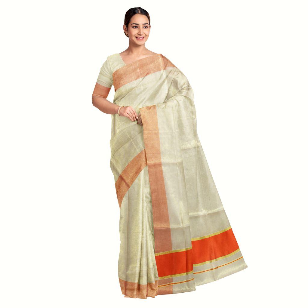 Kerala Tissue Saree With Amber Orange Border