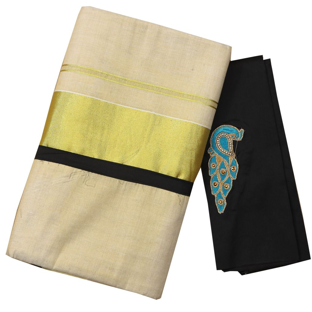 Kerala Tissue Set Saree With Black Piping And Matching Blouse Piece