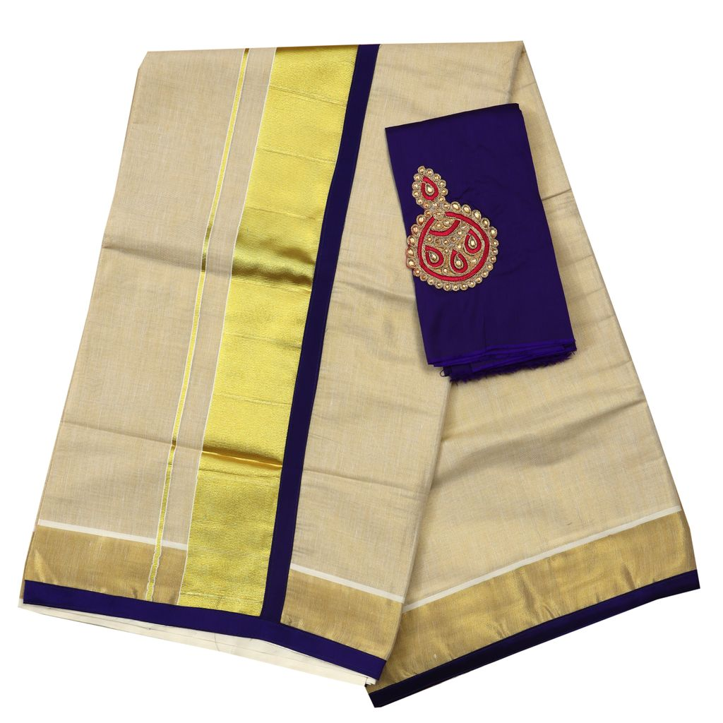 Kerala Tissue Saree With Purple Colur Piping And Matching Applique Blouse Piece
