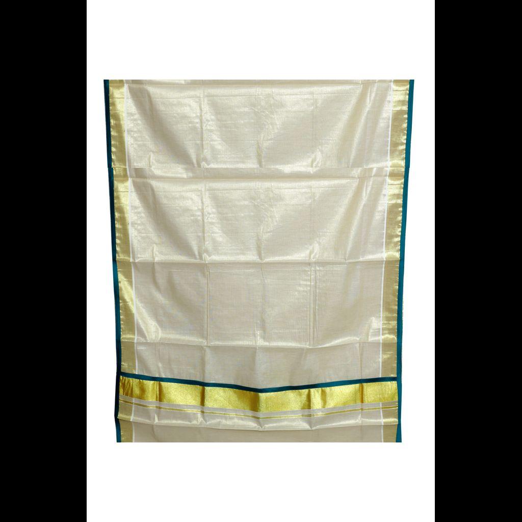 Kerala Tissue Kasavu Saree With Patch Embroidery