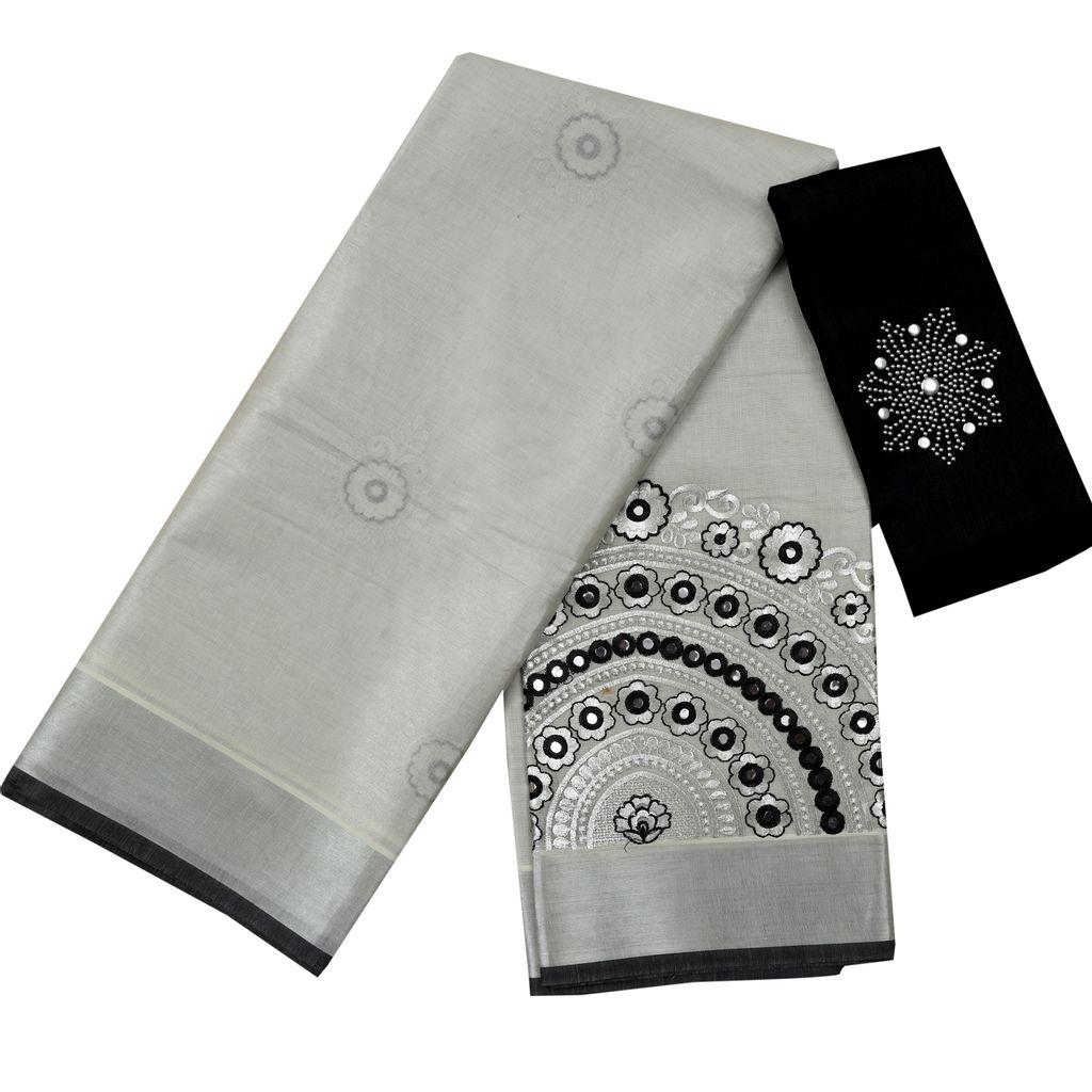 Kerala Wedding Silver Tissue Saree With Blouse