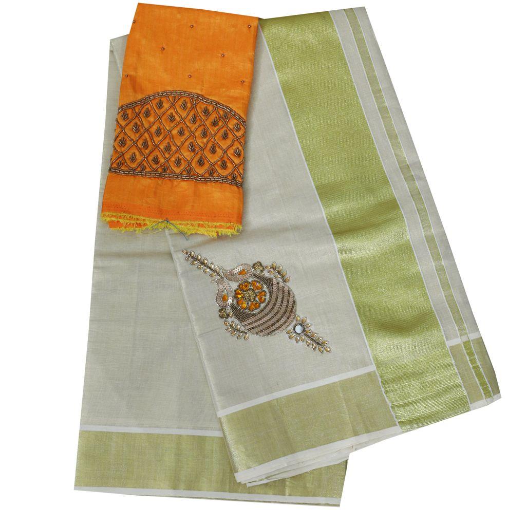 Kerala Kasavu Sari With Kundan Work