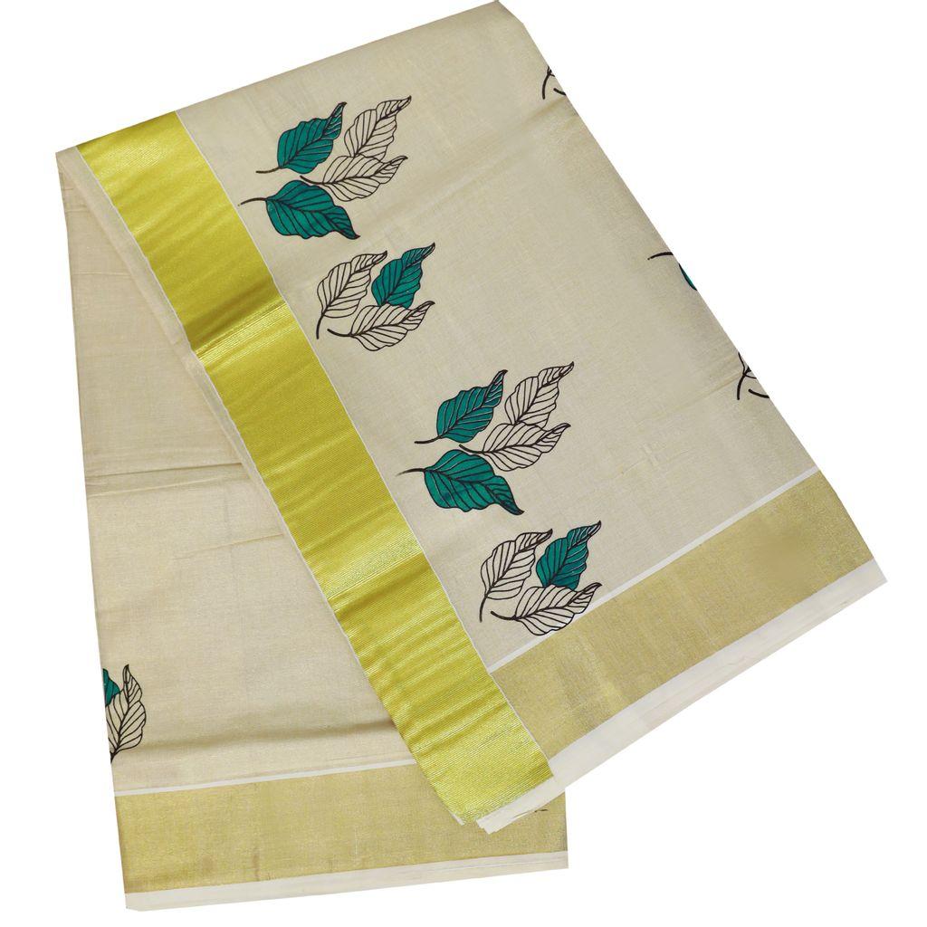 Kerala Tissue Saree With Foliage Prints