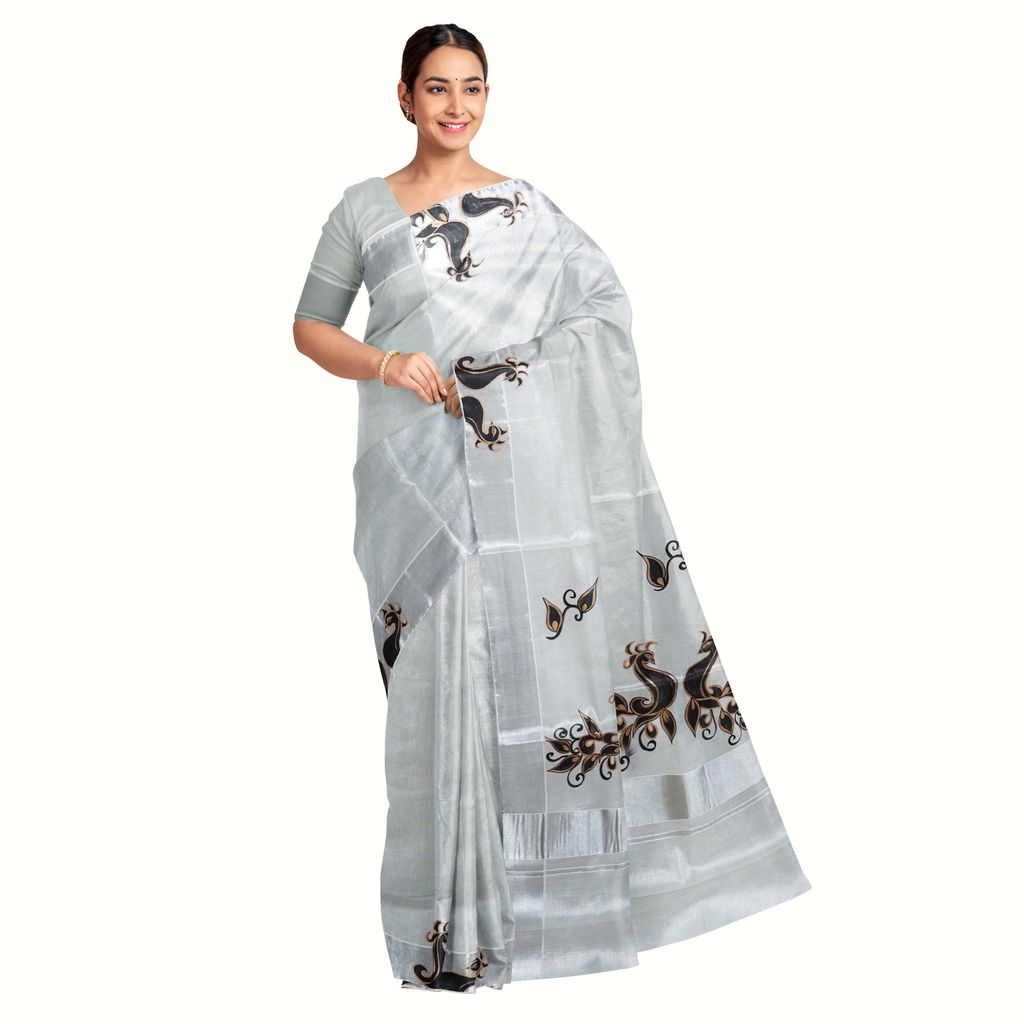 Hand Painted Tissue Saree With Metallic Shades
