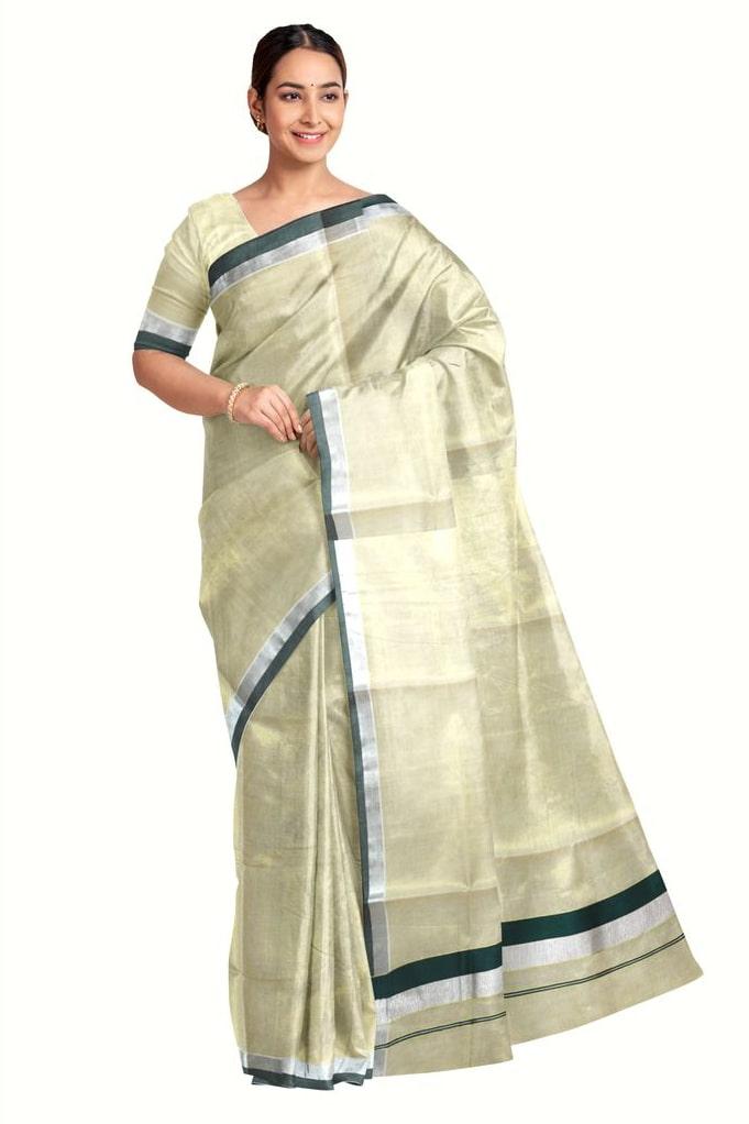 Traditional Kerala Saree With Running Blouse Piece