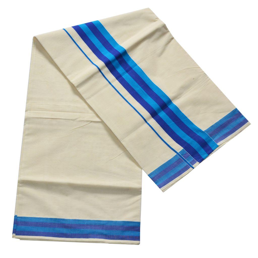 Cotton Kerala Saree Blue Stripes