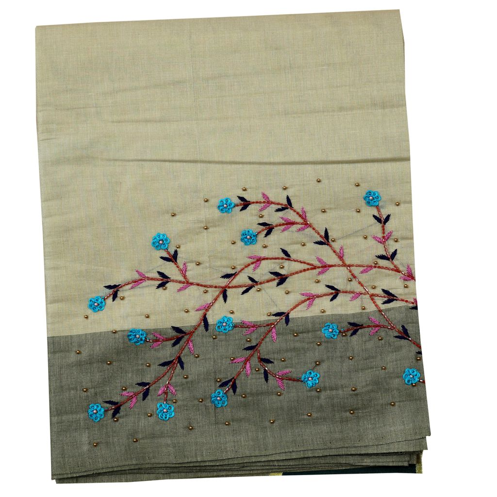 Kerala Traditional Saree With Embroidery Work