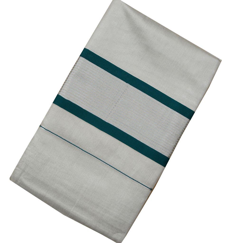 Ekatva Traditional Kerala Silver Tissue Saree With Dark Cyan Border