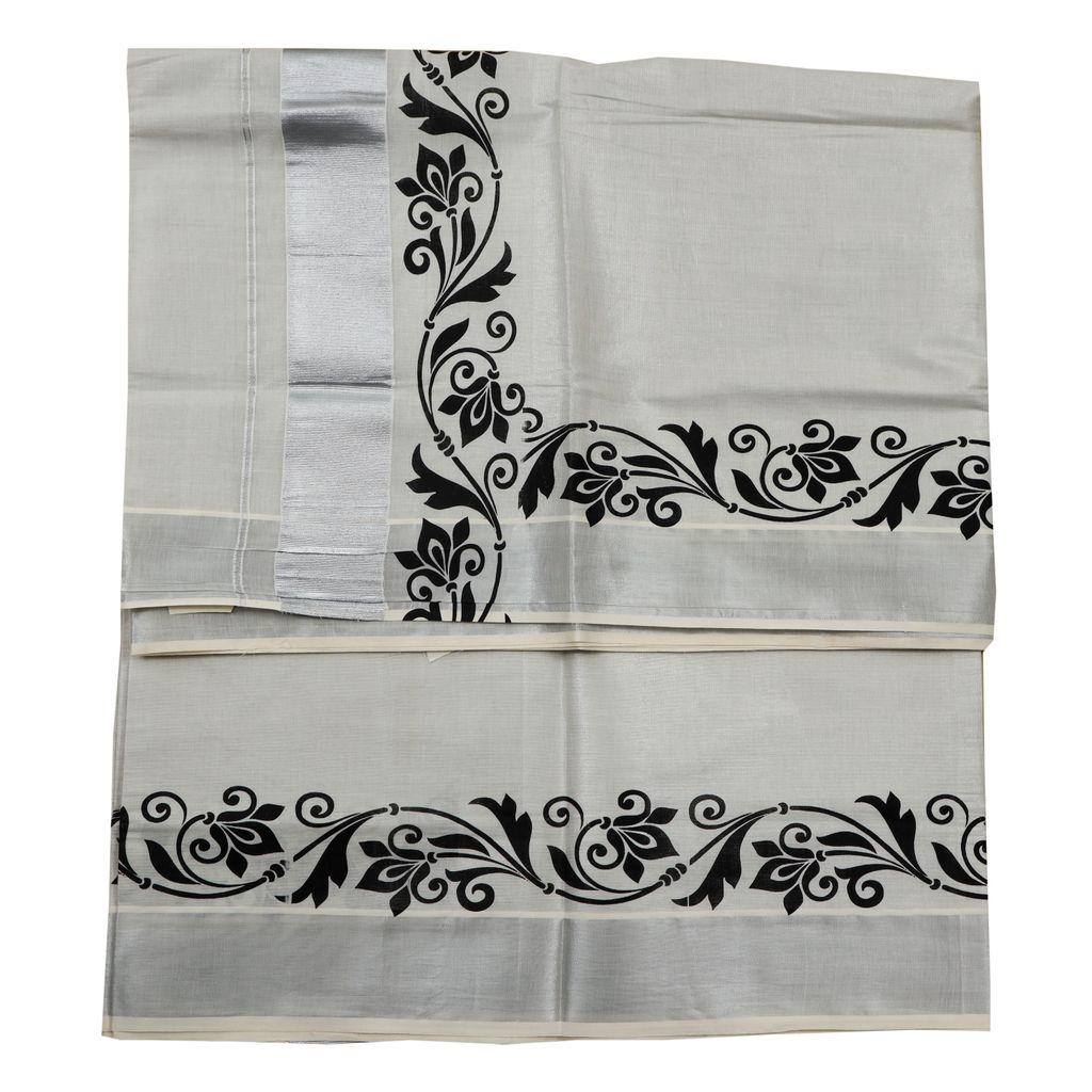 Ekatva Kerala Silver Saree With Floral Print