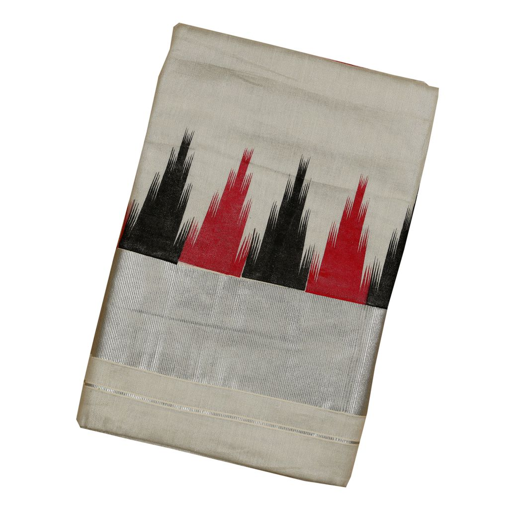 Silver Tissue Saree With Red And Black Ikat Print