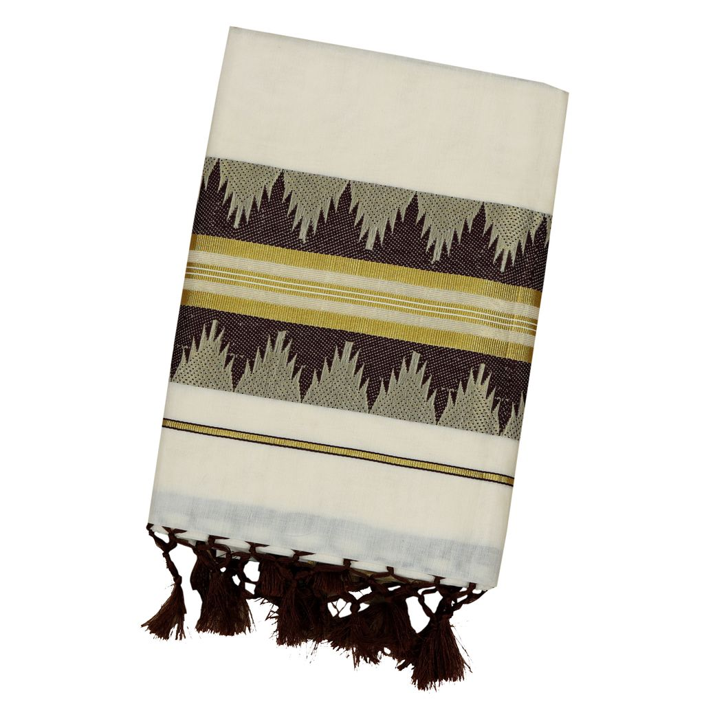 Cotton Set Saree With Coffee Brown Temple Design