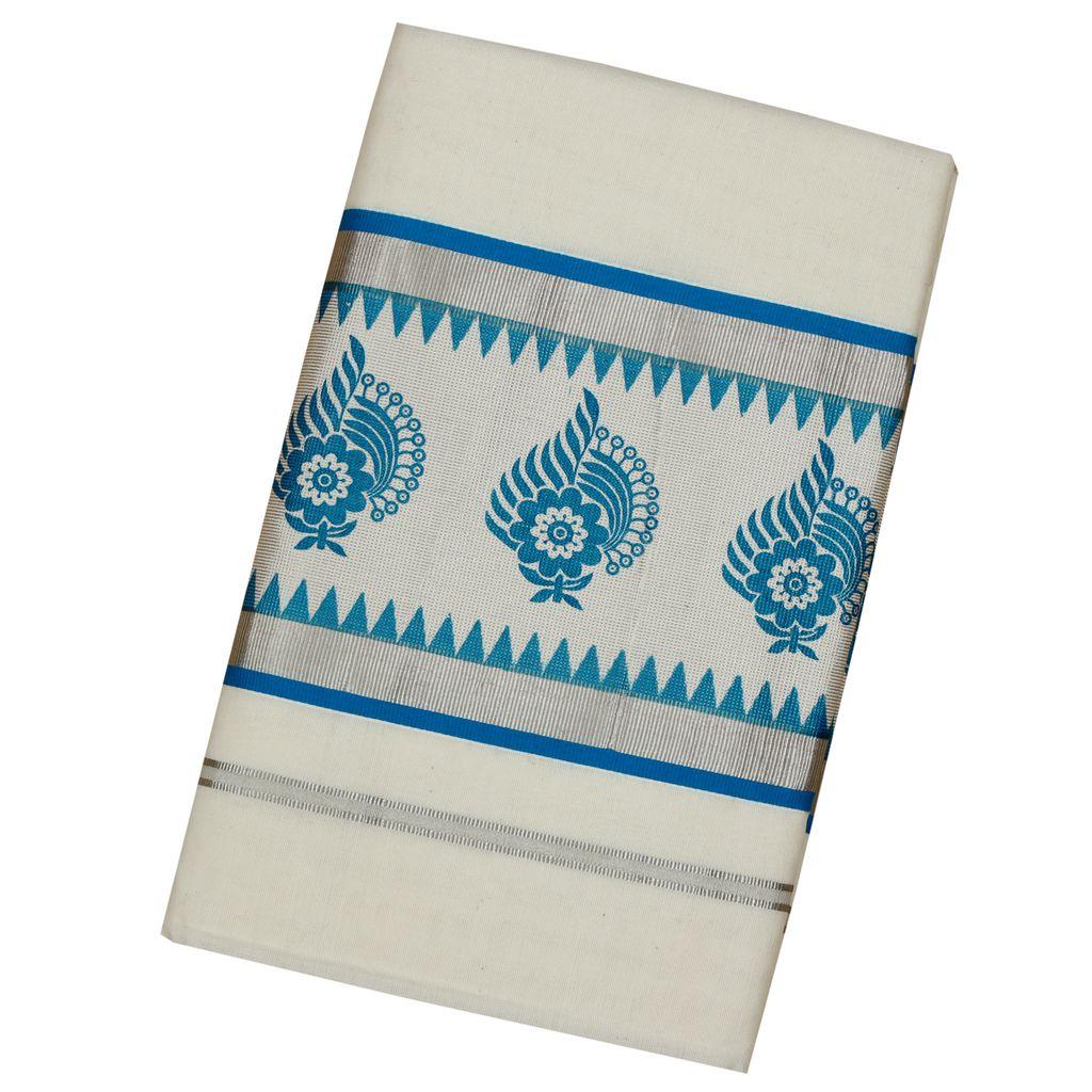 Cotton Kerala Saree With Blue Print in Silver Border