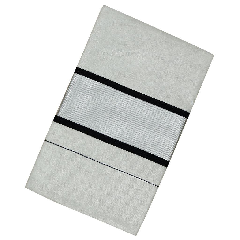 Silver Tissue Kerala Kasavu Saree With Black Border