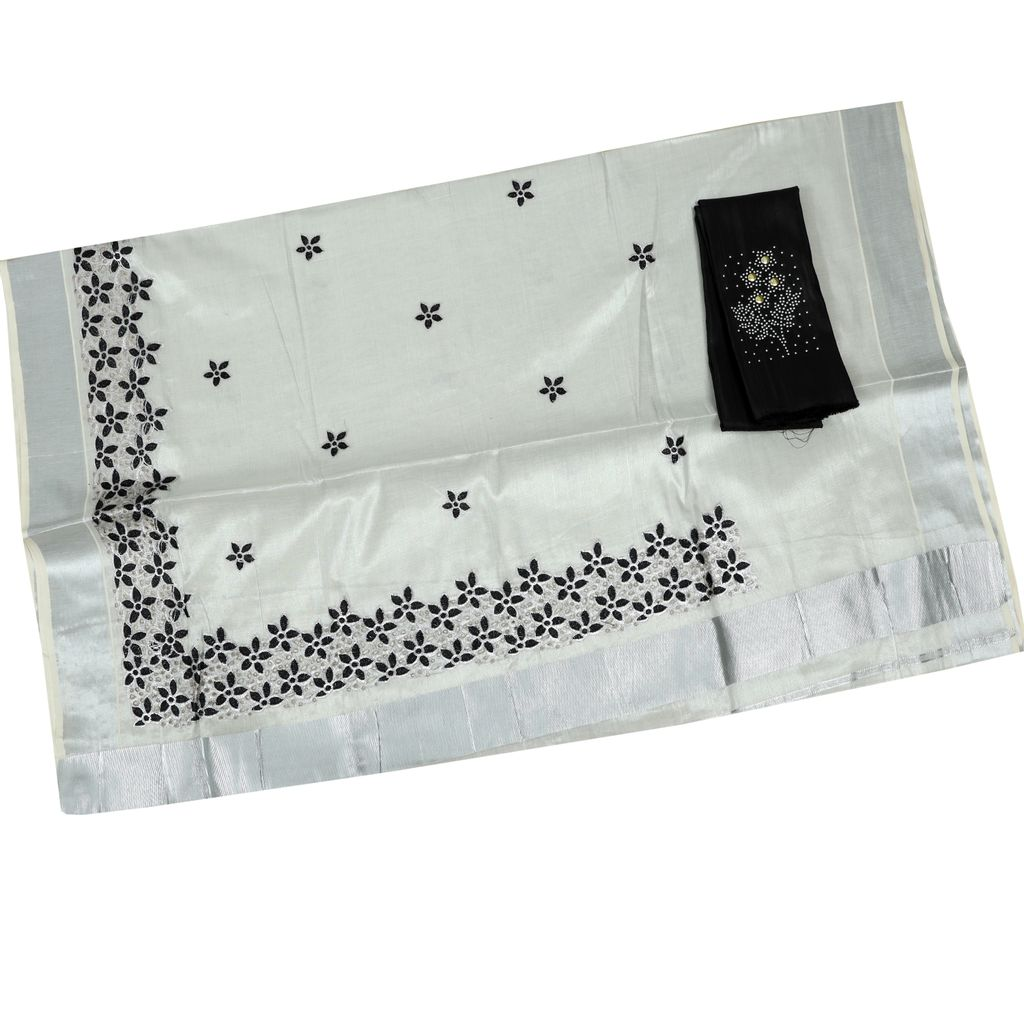 Silver Tissue Kerala Saree With Cutwork Embroidery