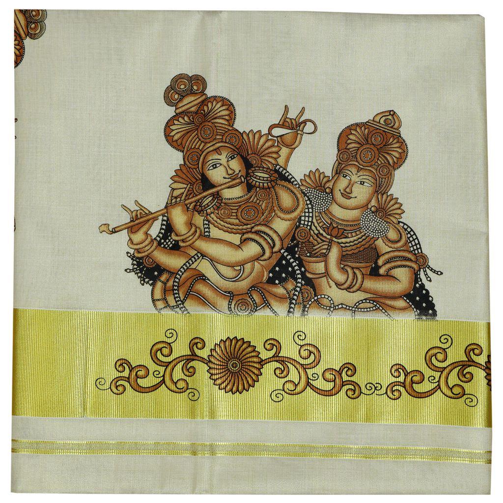 Kerala Kasavu Saree With Radha Krishna Mural Print