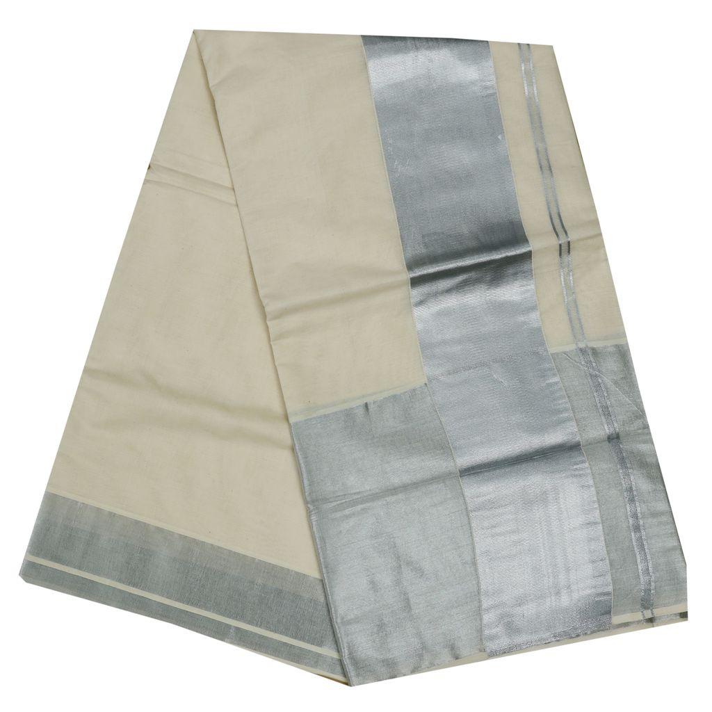 Cotton Kerala Saree With Silver Border