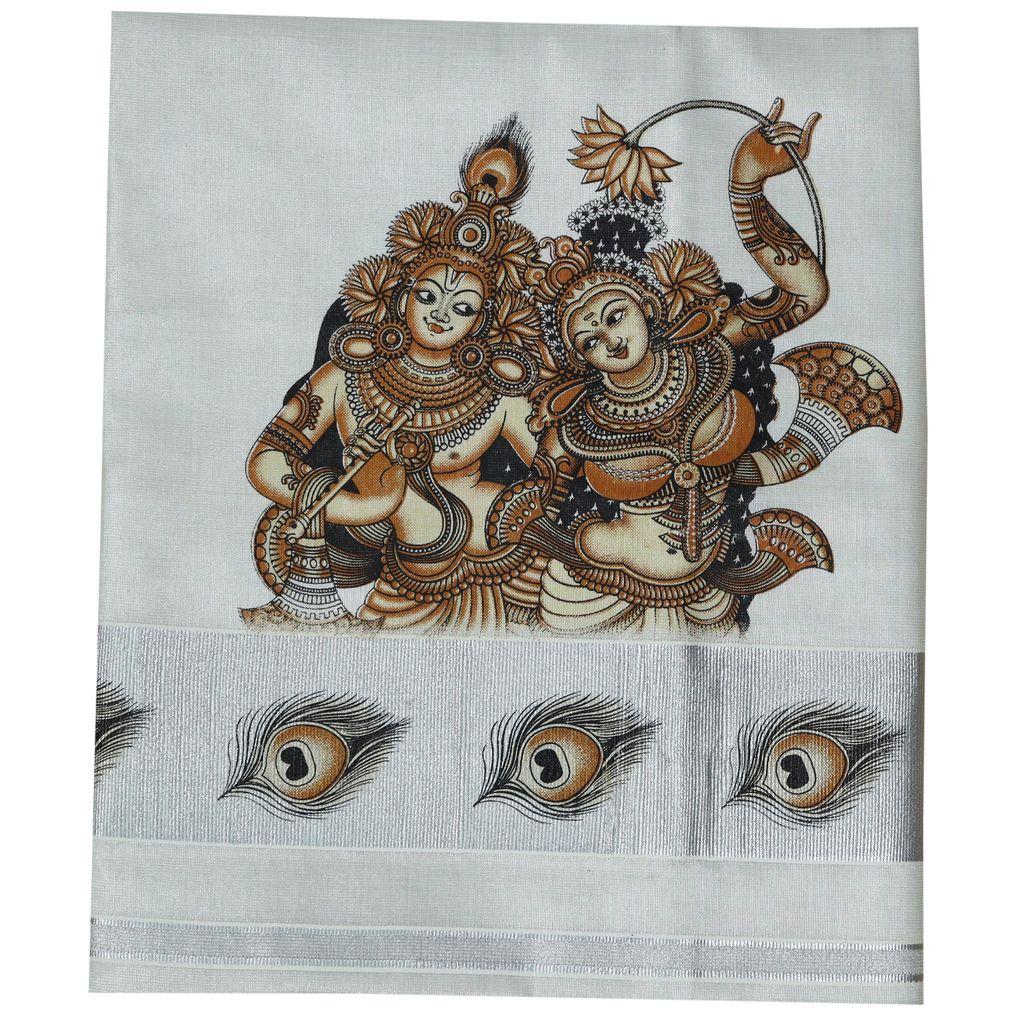 Kerala Kasavu Saree With Radha Madhavam Mural Print