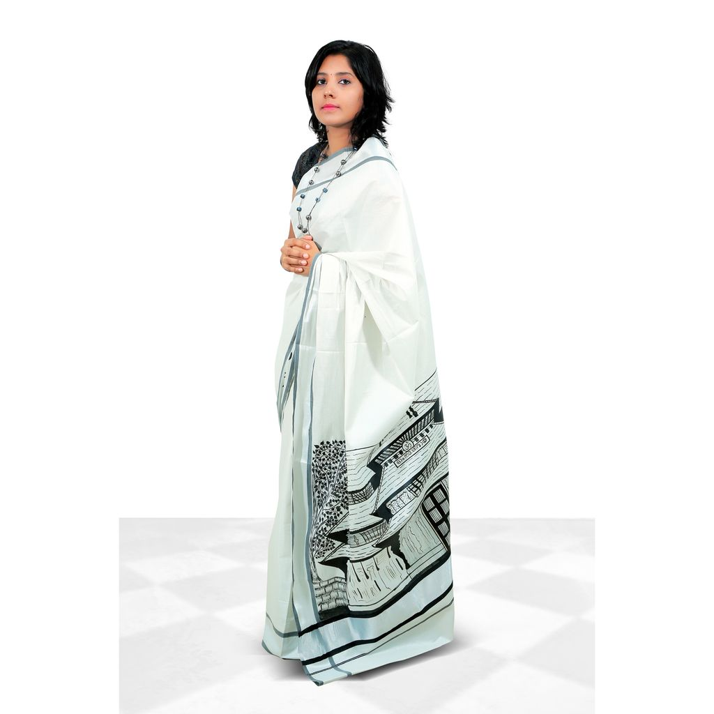Kerala Cotton Silver And Black Border Tissue Saree With Hand Painting