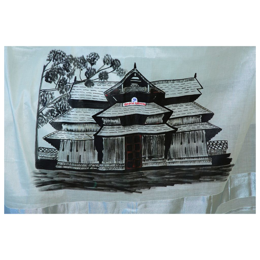 Kerala Silver And Black Border Tissue Saree With Hand Painting