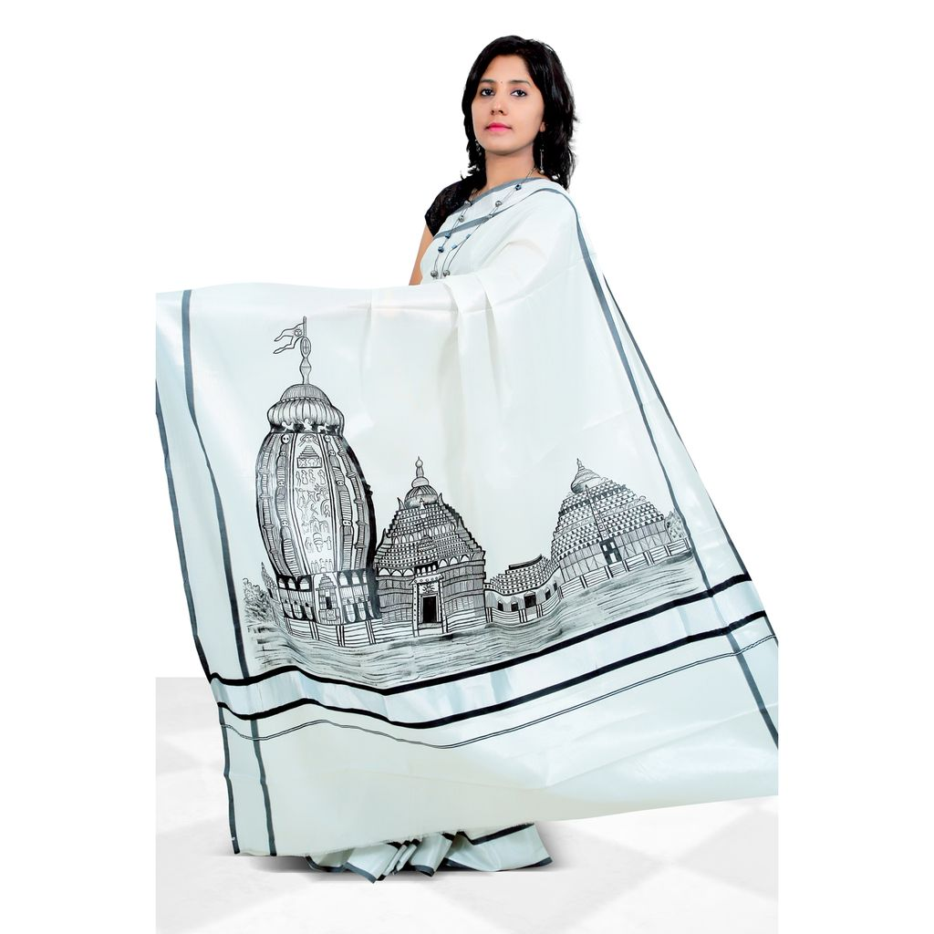 Silver And Black Border Tissue Kerala Saree With Hand Painting