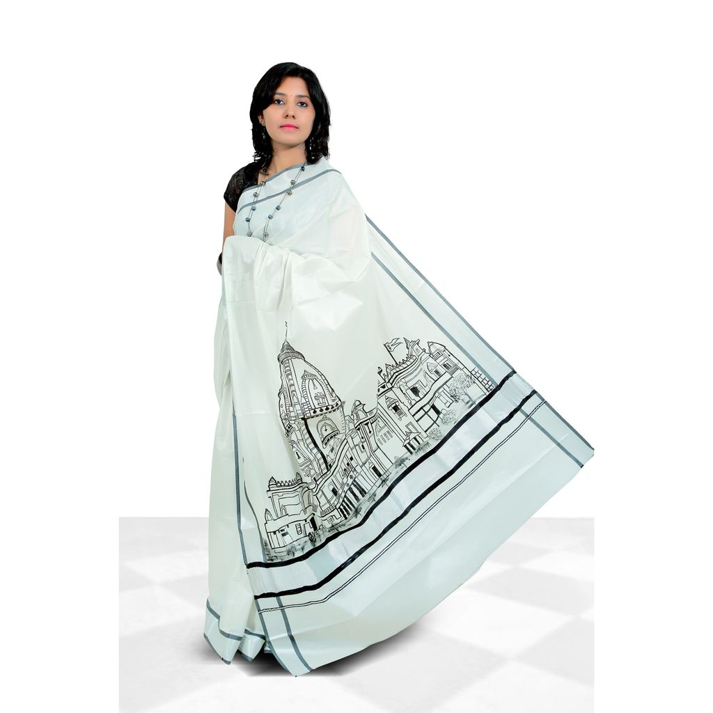 Hand Painted Kerala Saree in Silver And Black Border