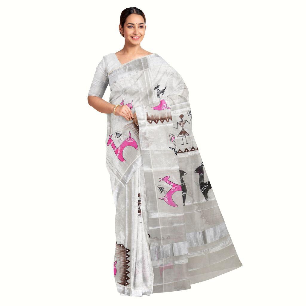 Kerala Silver Saree With Folk Art Paint