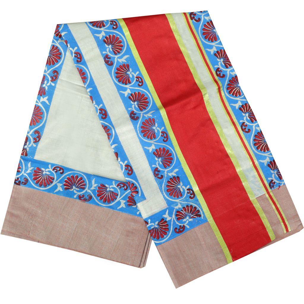 Tissue Saree With Indigo Block Prints