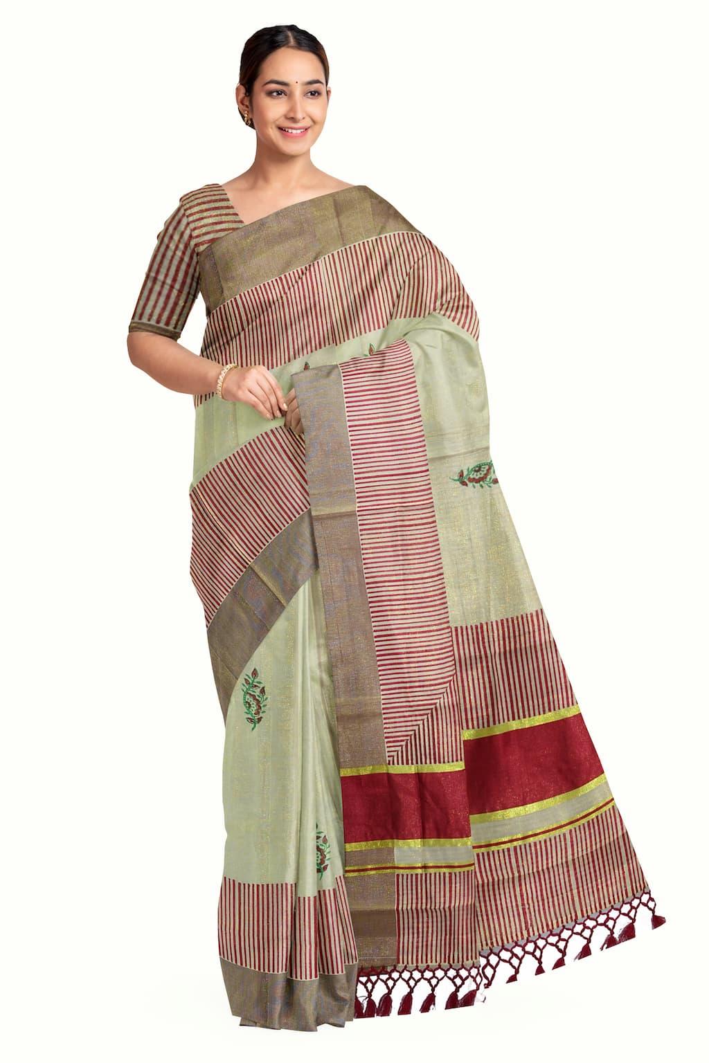 Kerala Kasavu Tissue Saree With Block Print Stripes