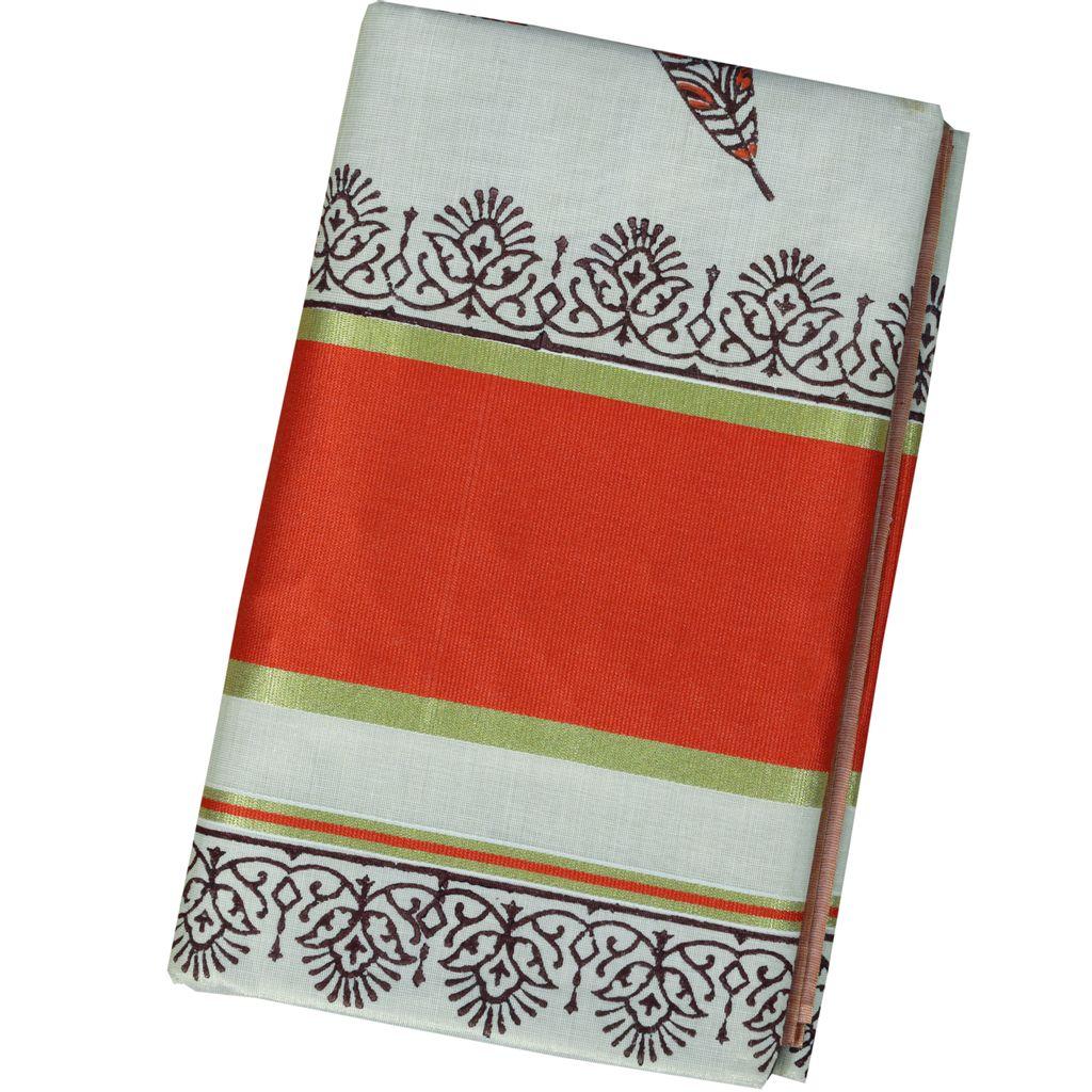 Kerala Kasavu Tissue Saree With Leaf Block Print