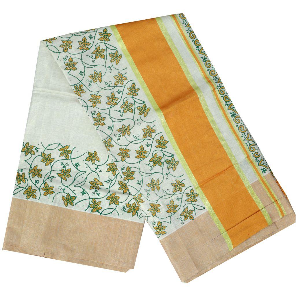 Kerala Kasavu Tissue Saree With Floral Block Print