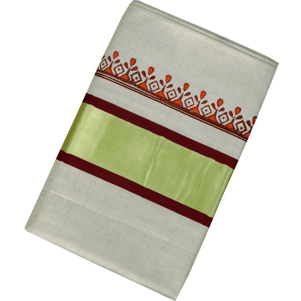 Kerala Kasavu Tissue Saree With Samrekha Blockprint Patterns