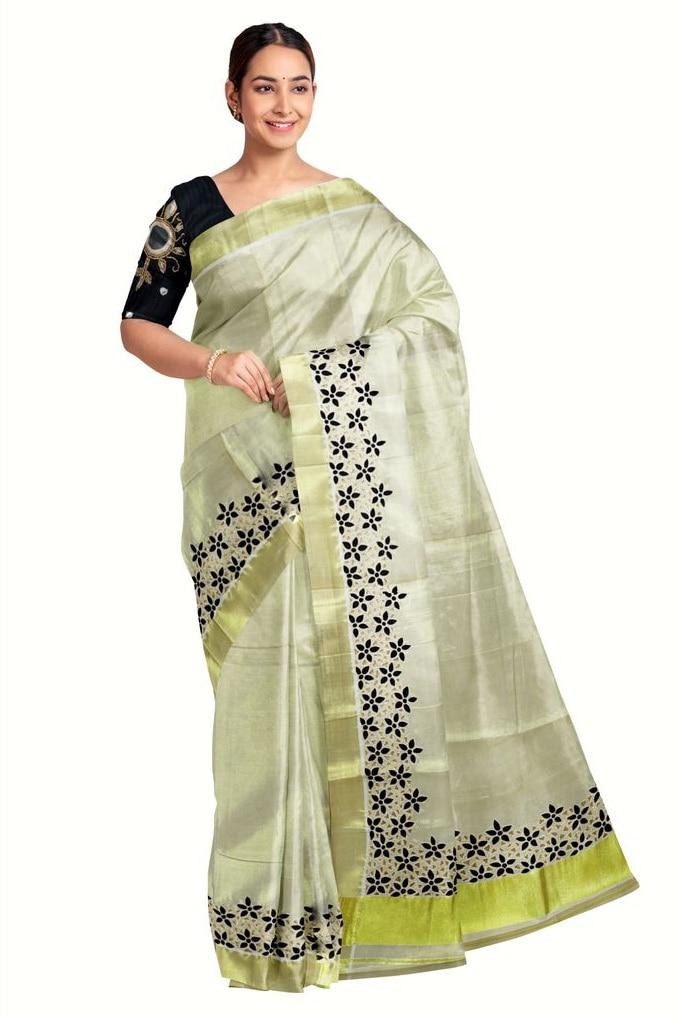 Kerala Kasavu Tissue Saree With Black Cutwork Embroidery
