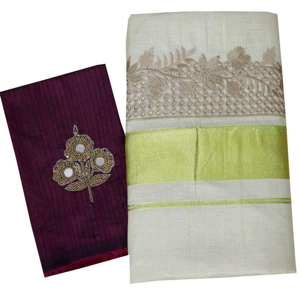 Kerala Kasavu Tissue Saree With Cutwork Embroidery