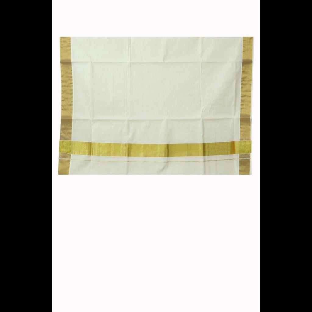 Traditional Cotton Kerala Saree With Golden Border