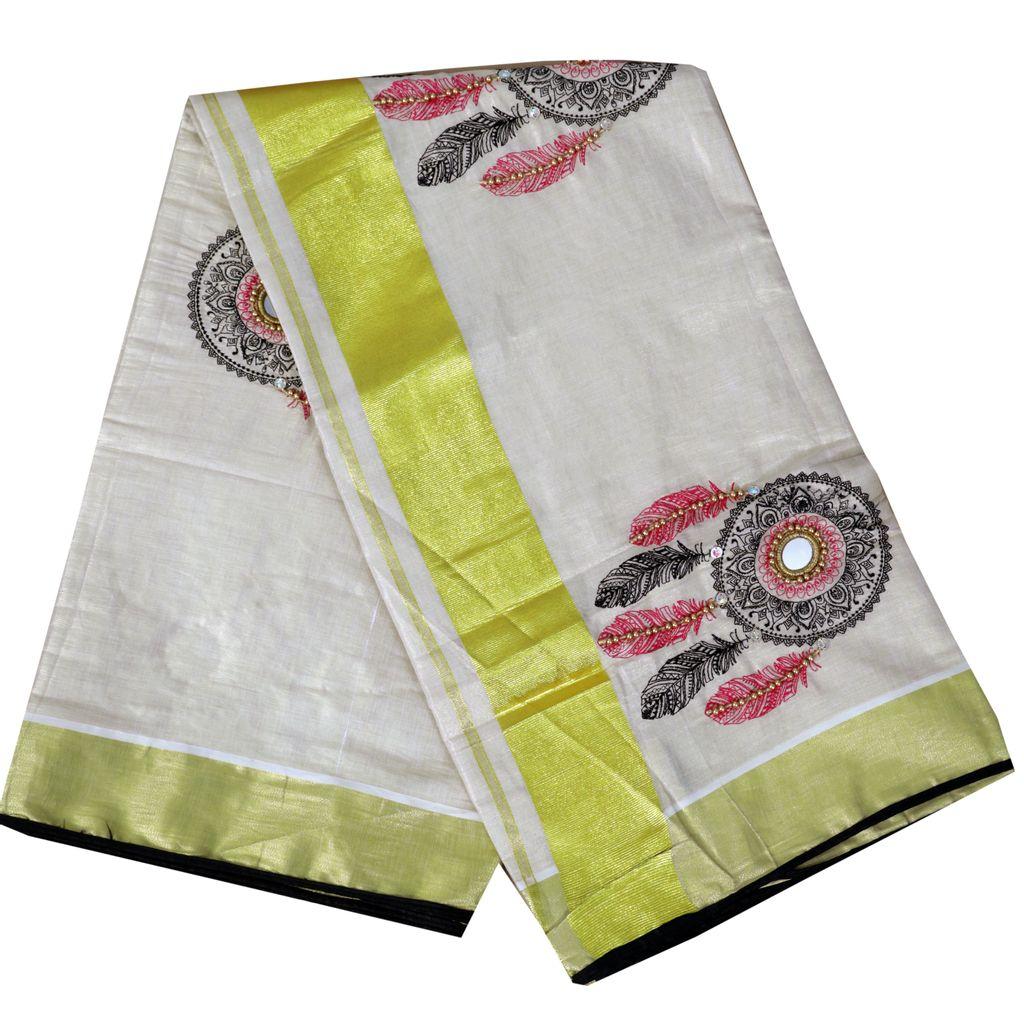 Kerala Kasavu Saree With Dream Catcher Embroidery