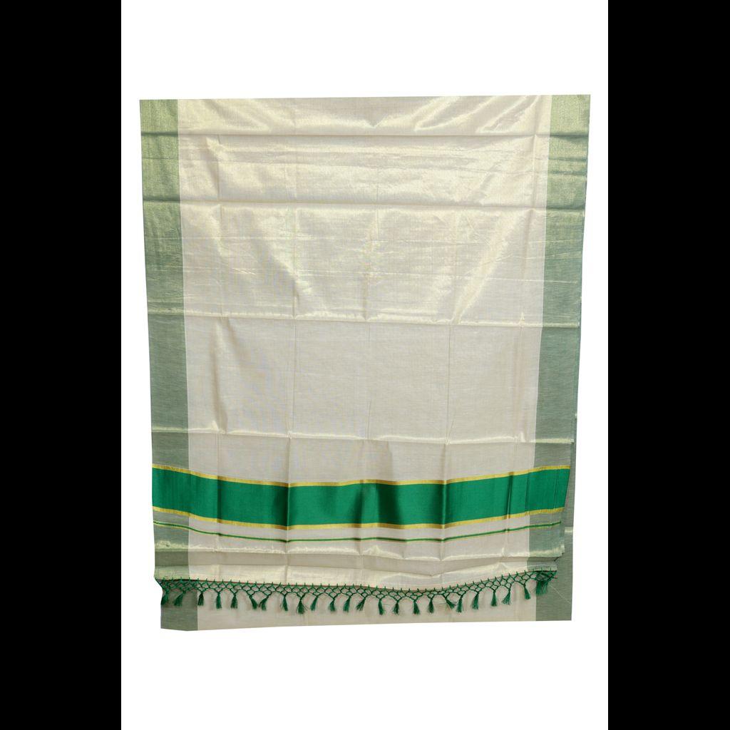 Kerala Tissue Saree With Divine Green Border