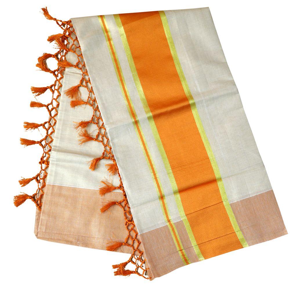 Kerala Tissue Saree With Yellow Orange Border