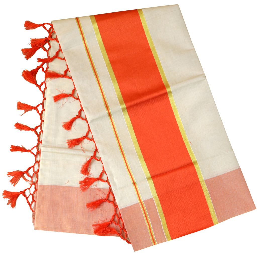 Plain Tissue Saree With Passion Orange Border