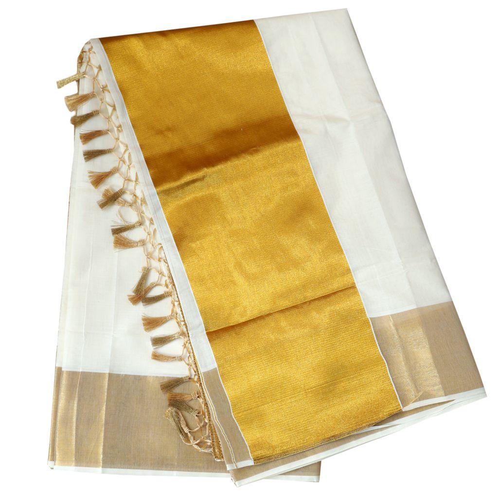 Traditional Kerala Saree With Eight Inch Broad Kasavu Border