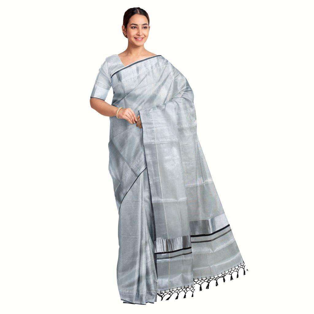 Traditional Kottar Kasavu Tissue Saree With Tassels