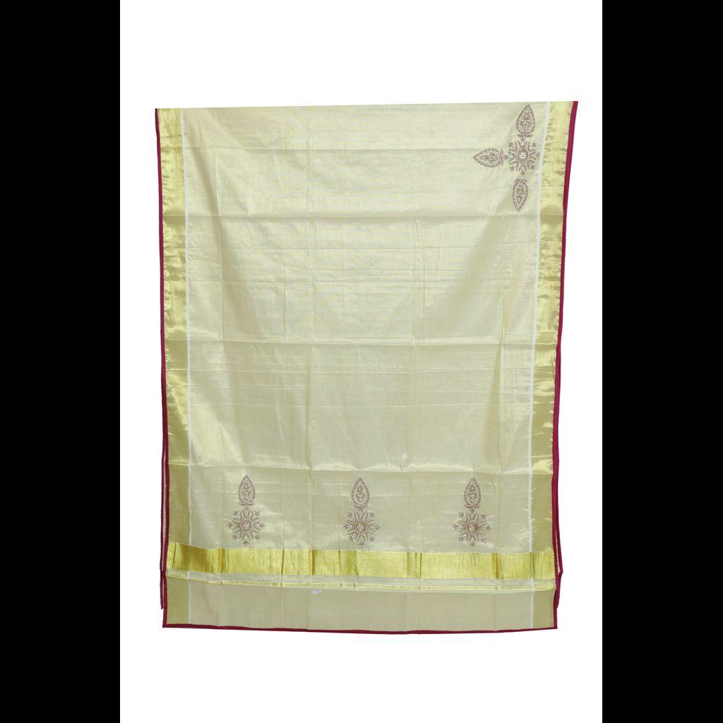 Kerala Tissue Saree With Exquisite Zardosi Embroidery