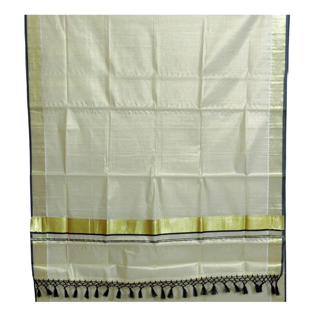Traditional Kottar Kasavu Tissue Sarees With Tassels