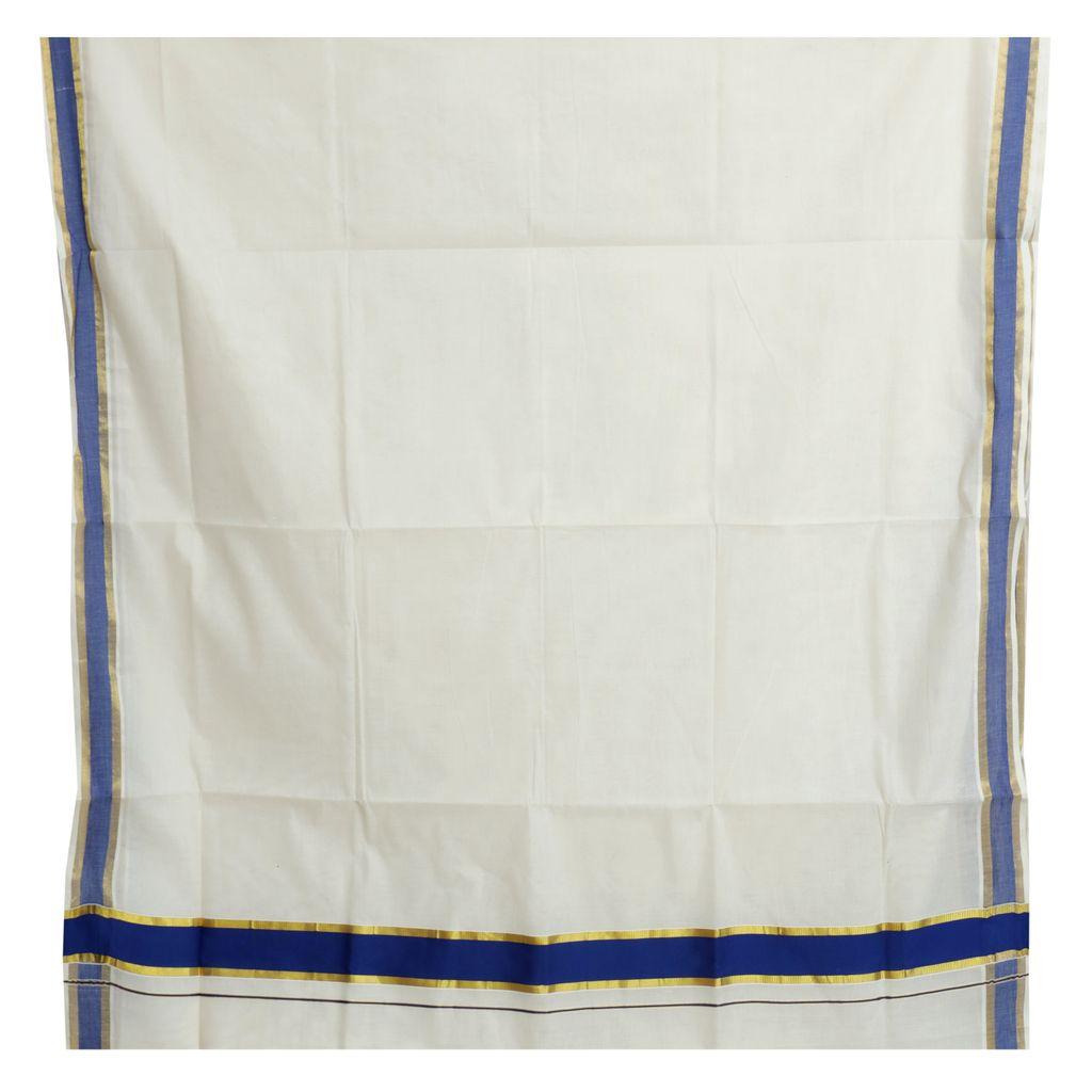 Kerala Saree With Royal Blue And Golden Kasavu Border
