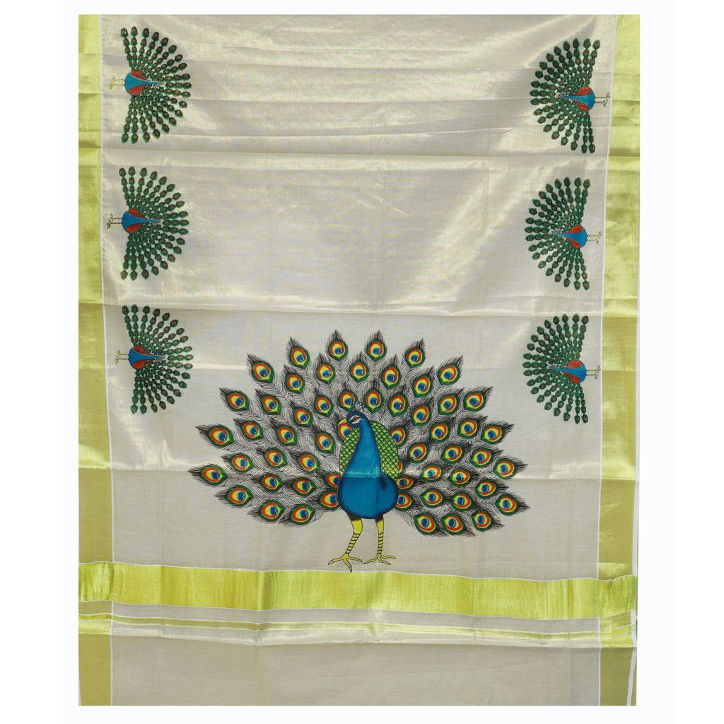 Kerala Tissue Saree With Mayoora Nadanam Print