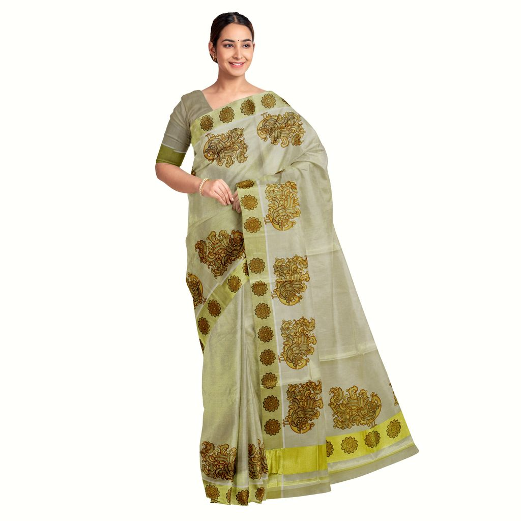 Tissue Saree With Mayoora  Prints In Antique Shades